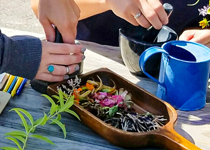 Making paint with nature-educators