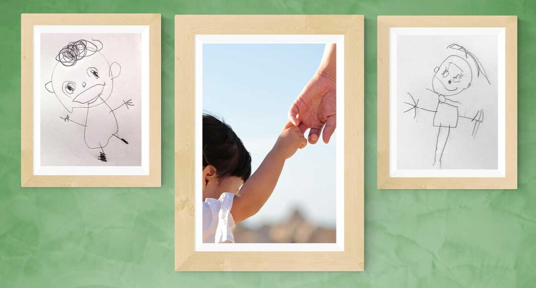 toddler holding adult's hand, with accompanying images of children's self-portrait drawings